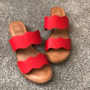 Dolce vita scroll cut red sandals